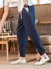 Men's casual loose cotton harem pants