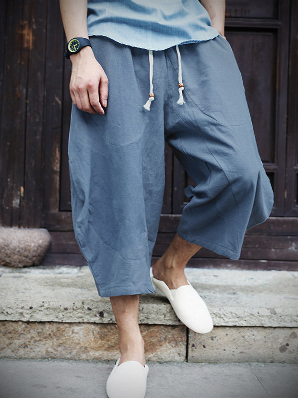 Men's Chinese Japanese style cotton casual linen drawstring pant harem pants