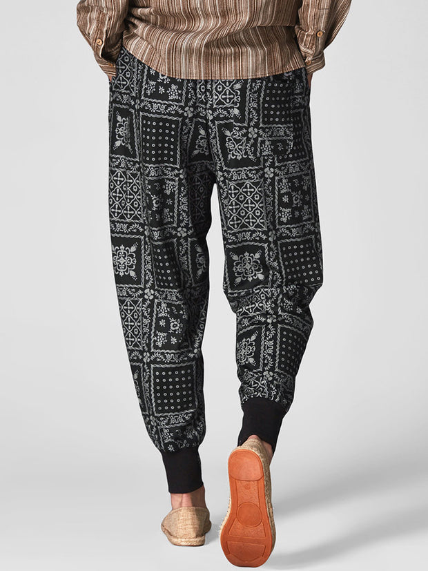 Mens Print Patchwork Pants Male Casual Harajuku Harem Pants Jogger Fitness Trousers