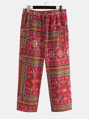 Mens 100% Cotton Loose Fit Ethnic Style Floral Print Pants