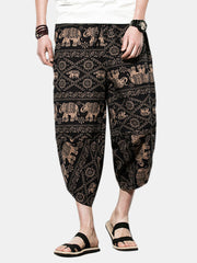 Mens Ethnic Style Printed Calf Length Baggy Loose Drawstring Breathable Cotton Casual Pants