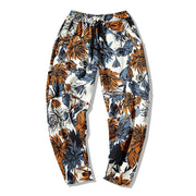 Mens Summer Ethnic Style Printed Baggy Loose Drawstring Breathable 100%Cotton Casual Pants