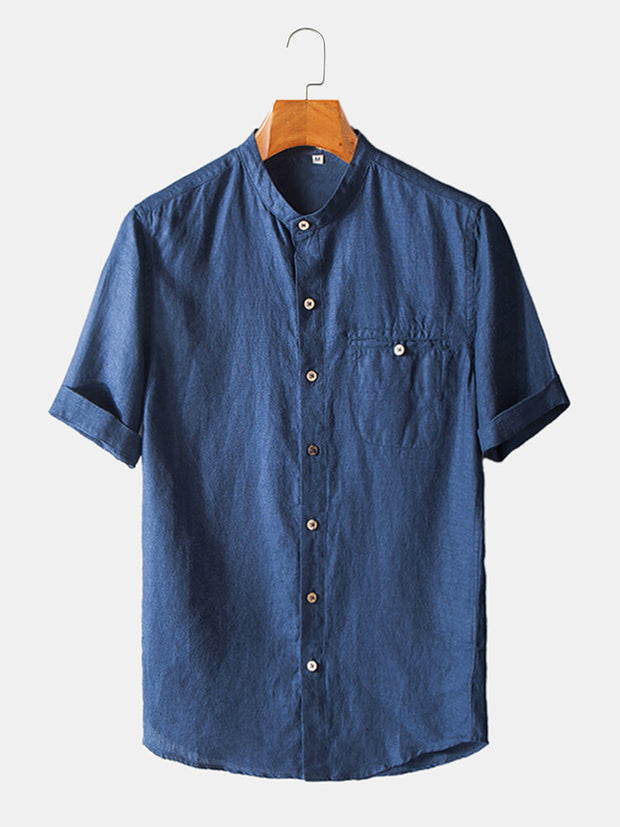 Men's 100% Cotton Plain Breathable Short Sleeve Casual Shirt