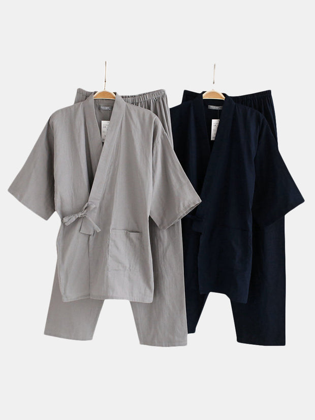 Men's Pocket Pure Cotton Soft Steamed Clothes Bathrobe Pajamas Sets