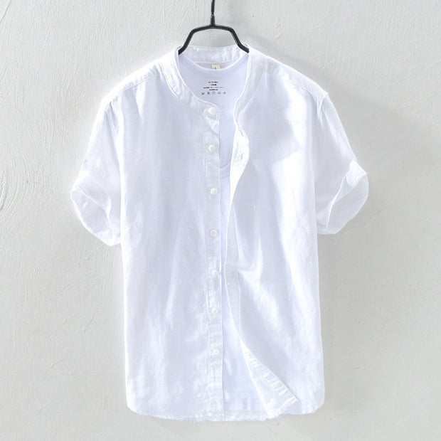 Men Linen Cotton Solid Color Stand Collar Short Sleeve Breathable Comfy Shirts