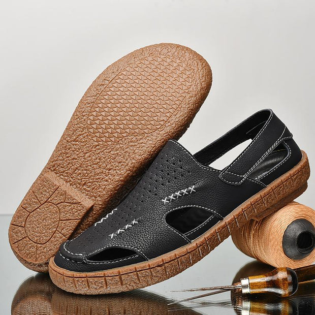Men's Leather Non Slip Hand-sewn Casual Beach Sandals