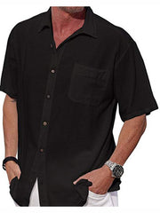 Men's short-sleeved button collar pocket solid color linen shirt