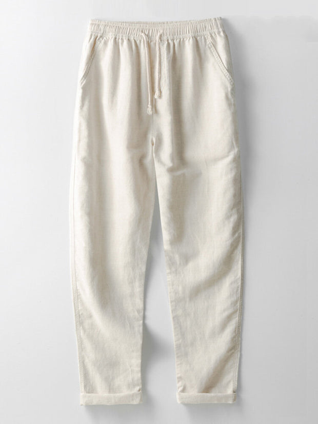 Mens Linen Cotton Solid Lightweight Breathable Loose Casual Pants