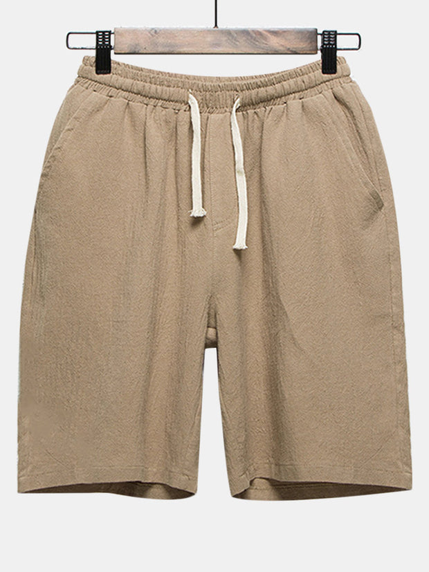 Mens Summer Thin Solid Color Elastic Waist Drawstring Plus Size Casual Knee Length Shorts