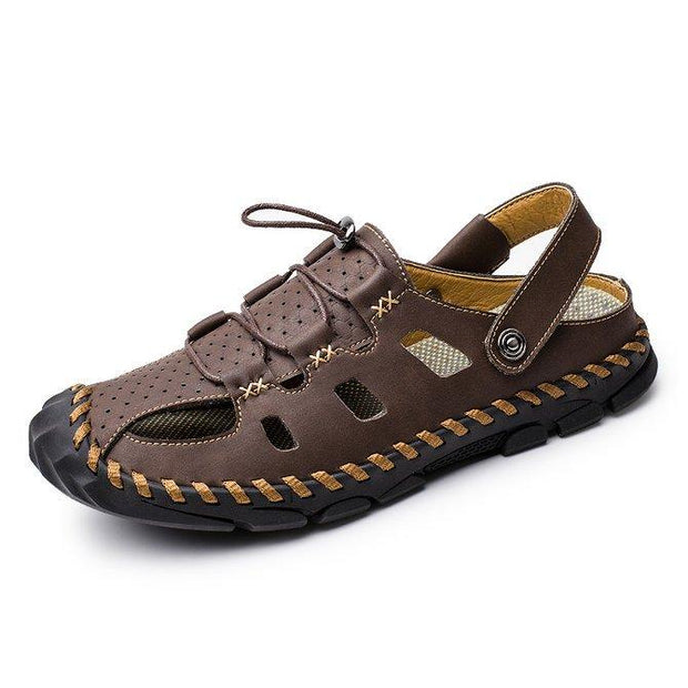 Men's Hand Stitching Leather Slip Resistant Soft Casual Beach Sandals