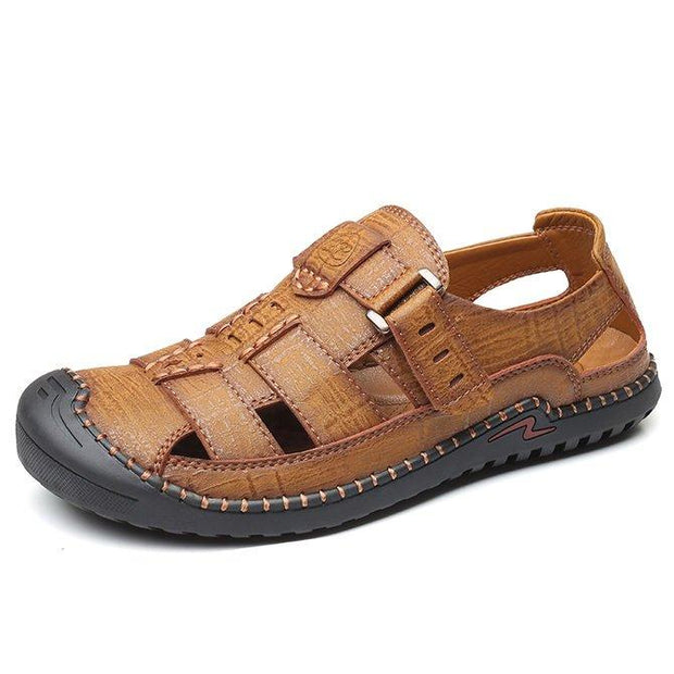Men's Genuine Cow Leather Hook Loop Water Beach Casual Sandals