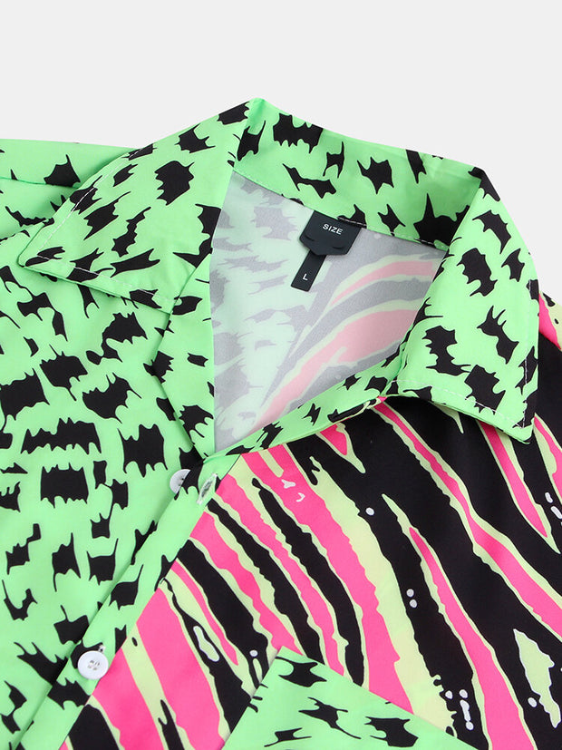 Mens Leopard & Zebra Stripe Patchwork Gradient Shirt