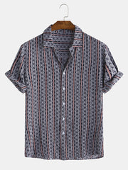 Mens Ethnic Pattern Print Stripe Smooth Breathable Short Sleeve Shirt