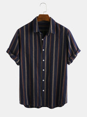 Mens 100% Cotton Vertical Striped Short Sleeve Casual Shirt