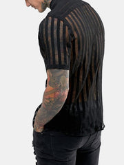 Mens Sexy See-Through Striped Mesh Night Club Party Short Sleeve Shirt