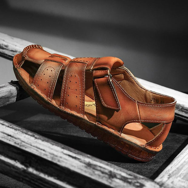 Men's Outdoor Summer Hand-sewn Soft Leather Casual Sandals
