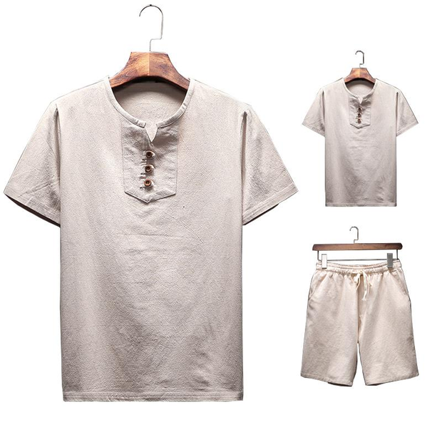 Mens Summer Thin Sets Vintage Solid Color Suits Linen Short-sleeve T Shirt and Shorts