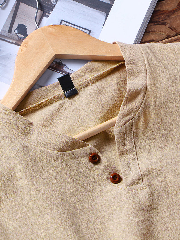 Men Linen Plain Pajamas Set Chinese Style Plus Size Comfortable Home Loungewear With Pockets