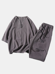 Men Linen Loose Pajamas Set Breathable V Neck Plain Bat Sleeve Loungewear