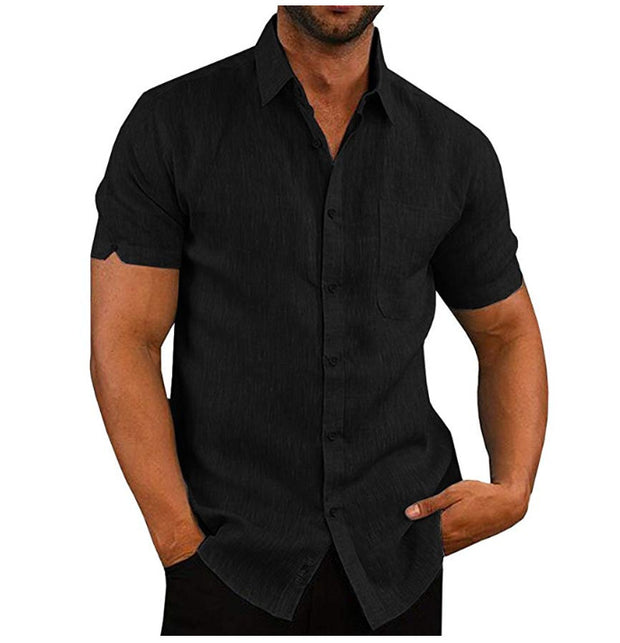 Men's solid color short-sleeved linen buttons shirt