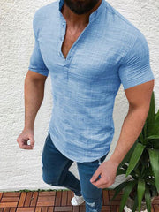Men's solid color short-sleeved casual linen shirt