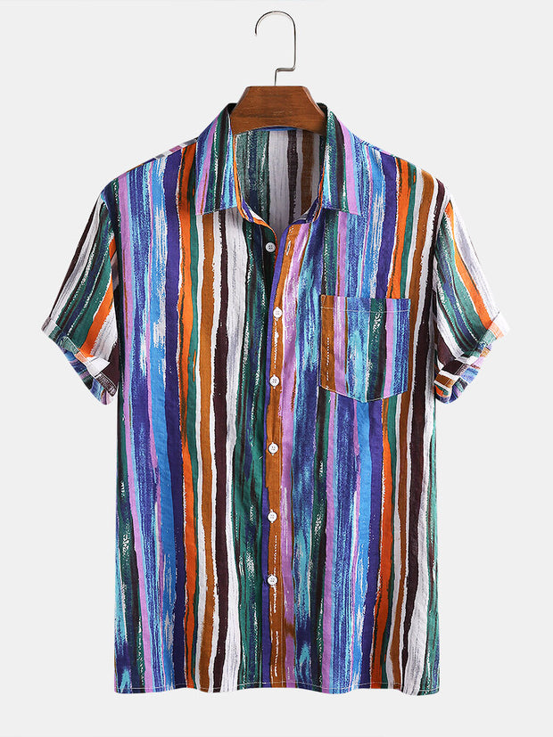 Mens Cotton Colorful Stripe Printed Tie-Dyed Holiday Casual Short Sleeve Shirt