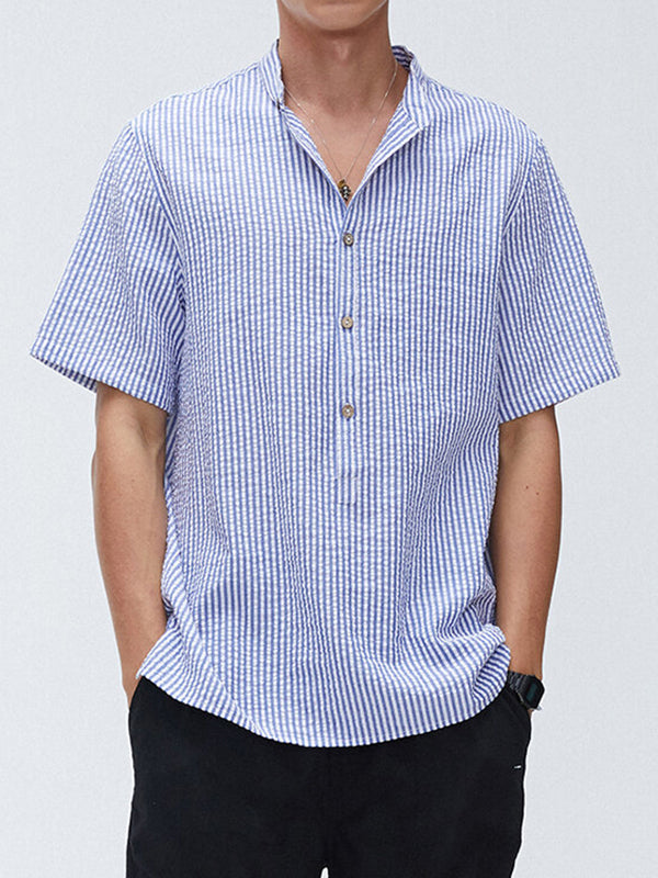 Men Cotton Striped Print Casual Loose Collar Short Sleeve Henley Shirts