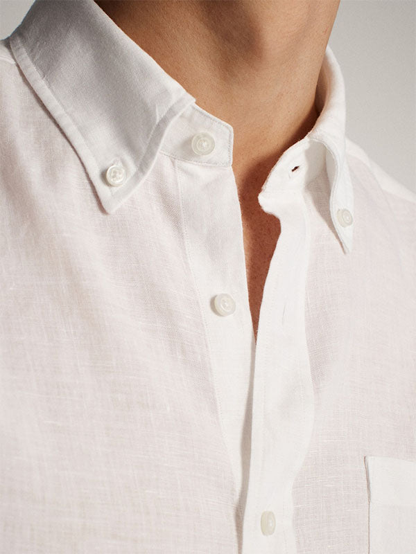 MAN'S  REGULAR FIT PLAIN 100% LINEN SHIRT