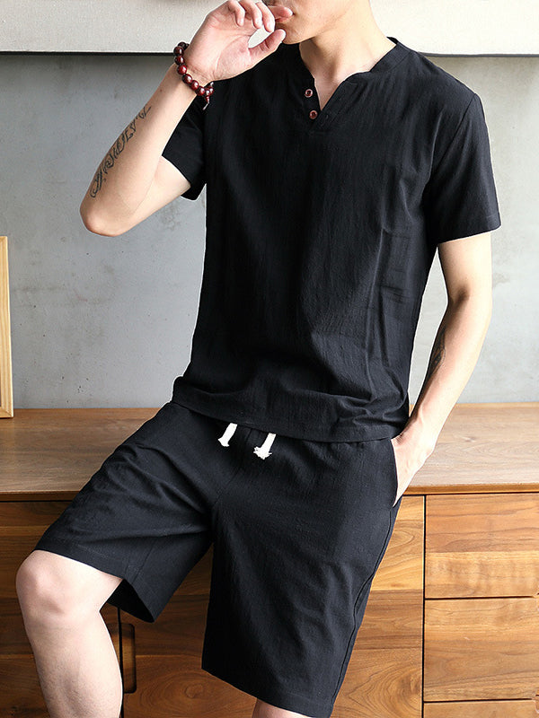 Men's Linen Short Sleeve V-Neck Chinese Style Pajamas Set Home Loungewear