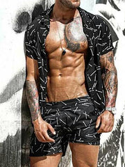 Men's Casual Tiger Print Beach Short Sleeve Shirt Set
