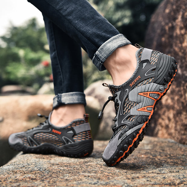 Men's Outdoor Mesh Splicing Lace Up Slip Resistant Climbing Hiking Shoes