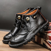 Men Cow Leather Hand Stitching Non Slip Soft Sole Casual Ankle Boots