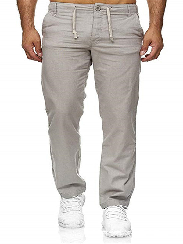 Men's Casual Linen Fashion Business Tether Slim Straight solid color pants