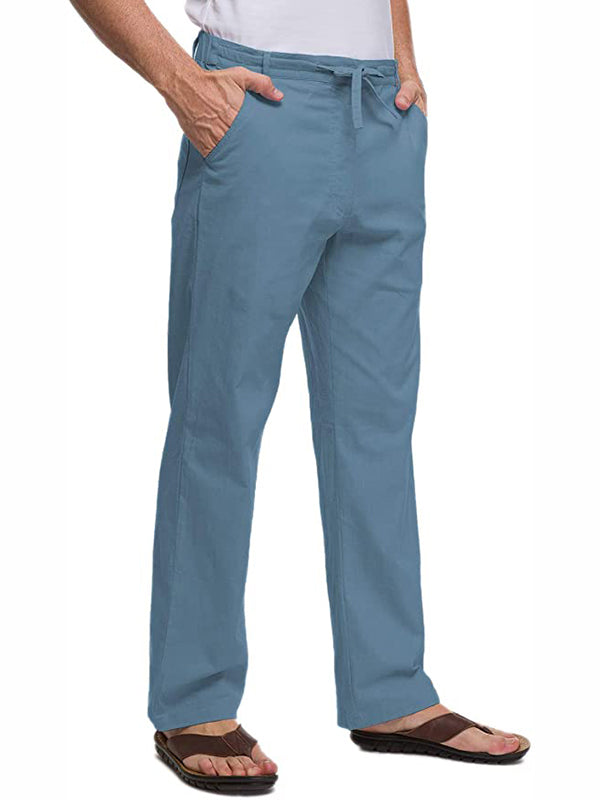 Men's solid color cotton trousers pants