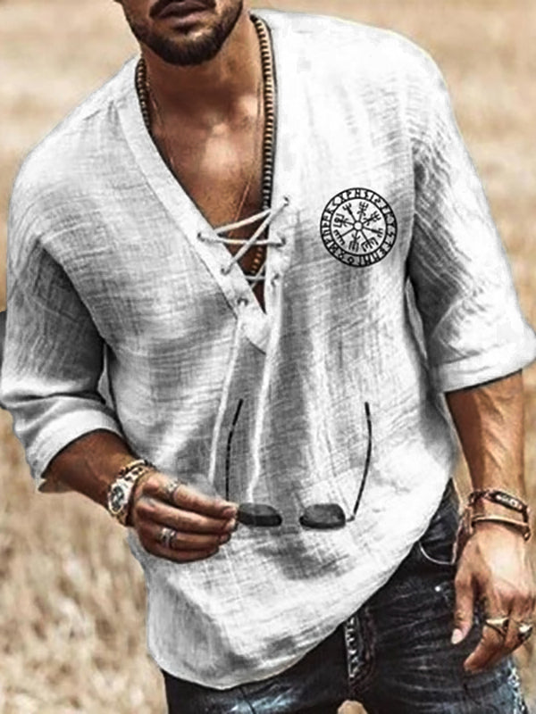 Men's Plain V-Neck Casual Loose Shirt