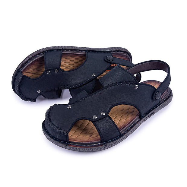 Men's Closed Toe Leather Beach Water Sandals
