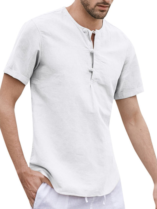 Men's Loose Cotton Linen Tops with Solid Round Neck Short Button Shirts
