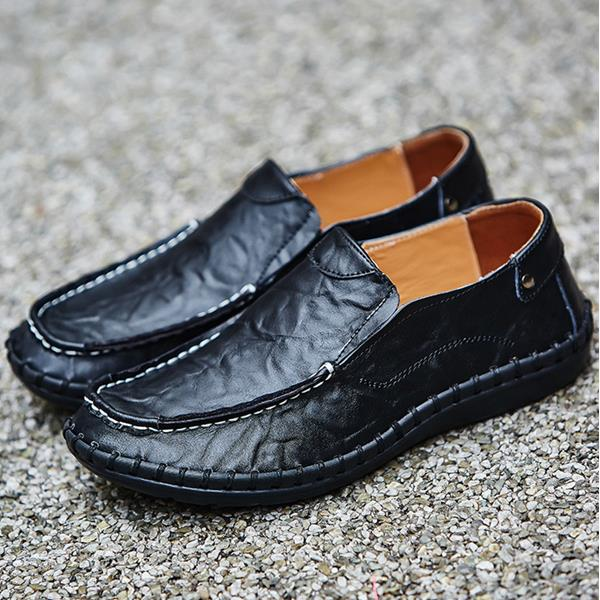 Men's Large Size Hand Stitching Soft Slip Ons Casual Loafers