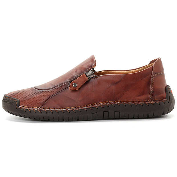 Men's Classic Hand Stitching Comfy Soft Slip On Casual Leather Shoes