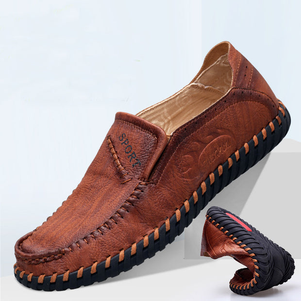Men Super Soft Sole Slip On Hand Stitching Casual Loafers