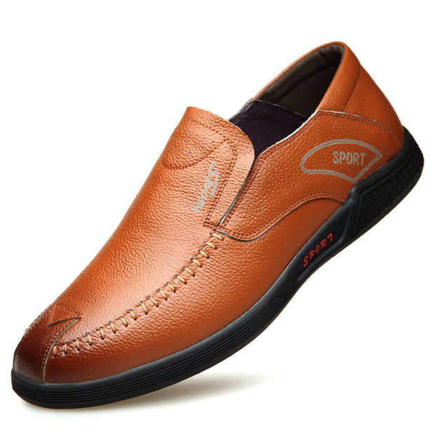 Men's Hand Stitching Non Slip Soft Casual Leather Shoes