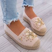 Women's Flowers Hemp Rope Straw Fisherman Casual Comfortable Sandals