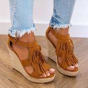 Women's Mid-heel Fringed Wedge Fish Mouth Sandals