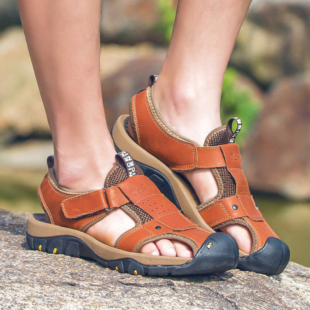 Men's Summer Soft Sandals Comfortable Outdoor Genuine Leather Sandals