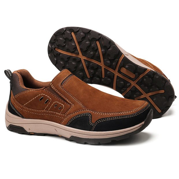 Men Outdoor Non Slip Slip On Casual Leather Shoes