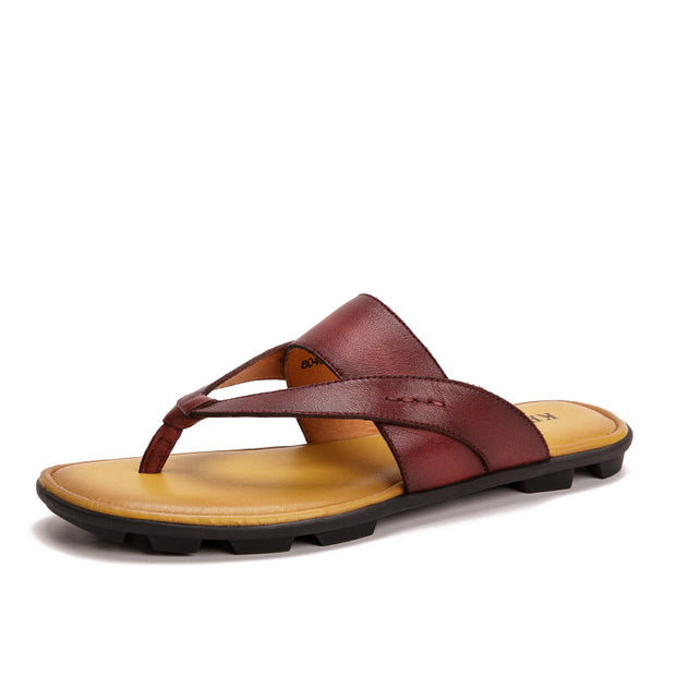 Men's Summer Retro Genuine Leather Casual Beach Sandals