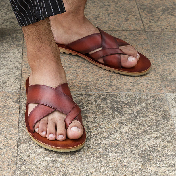 Men's Summer Retro Genuine Leather Comfy Casual Beach Sandals