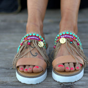 Women's Summer Bohemian Tassel Beaded Ethnic Sandals