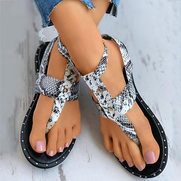 Women's Snakeskin Thongs Buckle Strap Flat Heel Sandals
