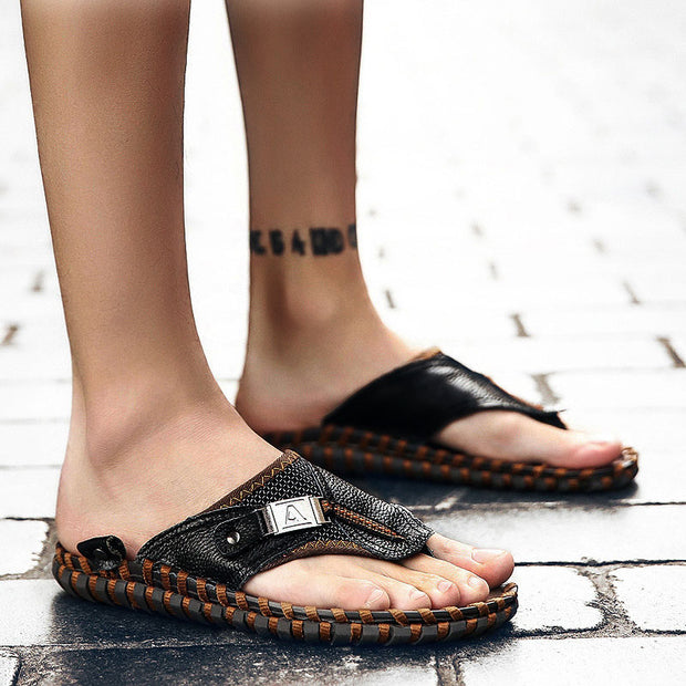Men's Summer Sandals New Leather Slip Hand-stitching Sandals